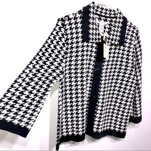 NWT Covington Houndstooth Button Down Cardigan
